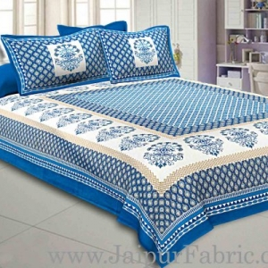 Double Bedsheet Royal Blue Geometric Floral Gold Print With 2 Pillow Covers