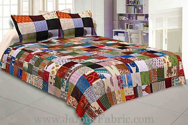 Mix Tukdi King Size Super Fine Golden Multi Patch Double Bedsheet
