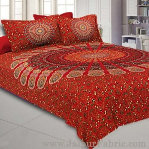 Red Mandala Double Bedsheet Tapestry with 2 Pillow Covers