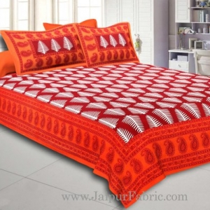 Orange Border  Maroon Base White Large Leaf  Cotton Double Bed Sheet