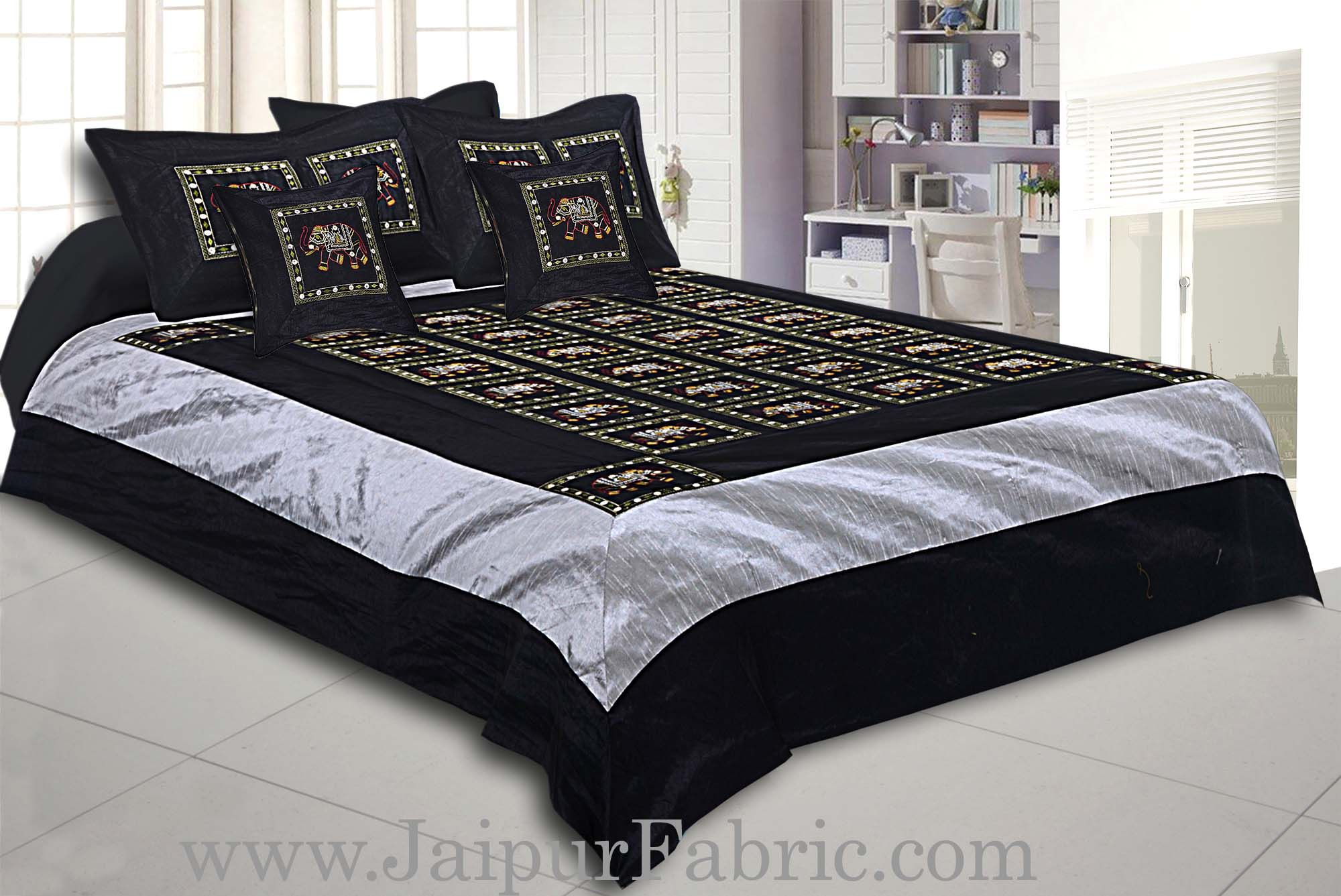 Black Elephant Zari Embroidered and Mirror Work Silk Double Bed Sheet