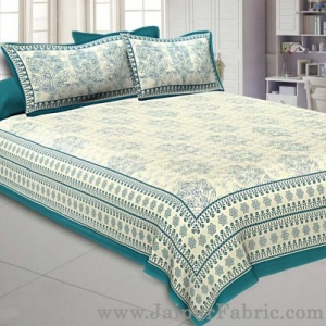 Sea Green Gamla block Double Bedsheet With 2 Pillow covers