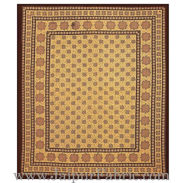 Double Bed Sheet Dark Brown Border Hand Block Floral Bagru Print Cotton Double Bed Sheet