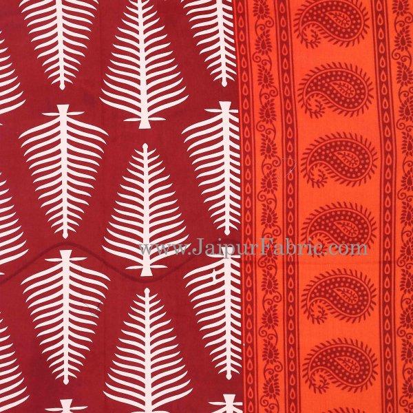 Orange Border  Maroon Base White Large Leaf  Cotton Double Bed Sheet