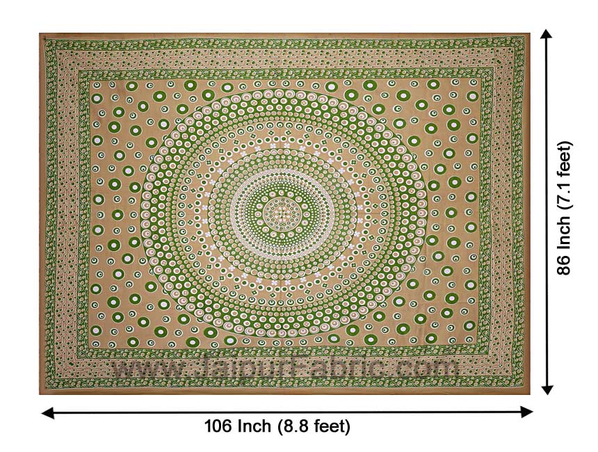 Double Bedsheet Green Color  Rangoli Pattern Smooth Touch With 2 Pillow Cover