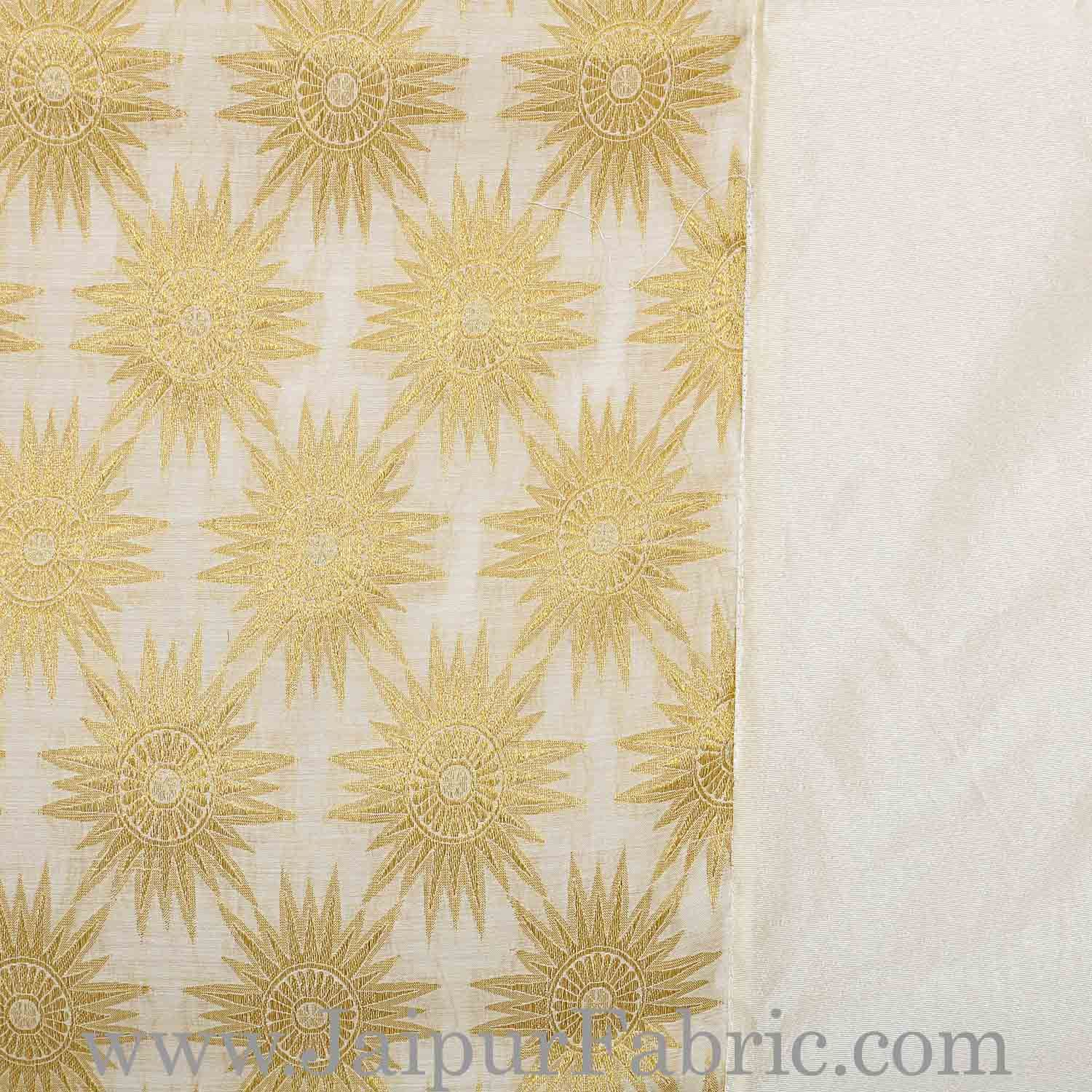 Chanderi Silk Double bedsheet with Golden Weave Work  With Sun Flower