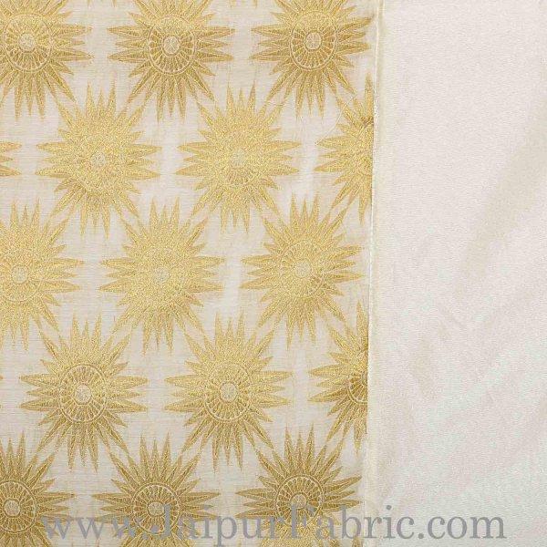 Chanderi Silk Double bedsheet with Golden Weave Work  With Sun Flower