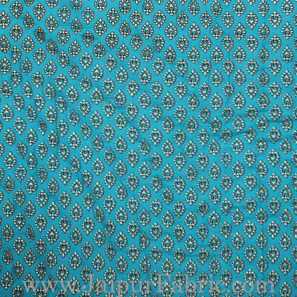 Jaipuri Double Quilt/Razai Turquoise Color Golden Print