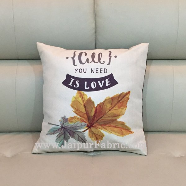 Jute Cushion Cover Digital Print All You Need Is Love