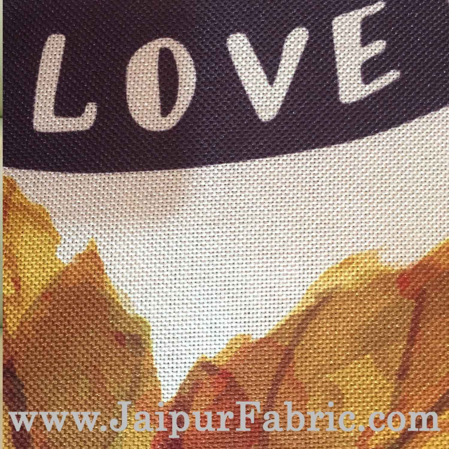 Jute Cushion Cover Digital Print All You Need Is Love