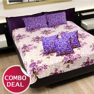 COMBO14 - Set Of Double Bed Sheet and 3 Cushion Covers