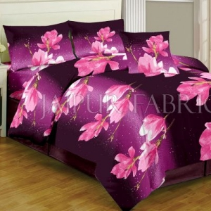 Purple Floral Print Cotton Double Bed Sheet