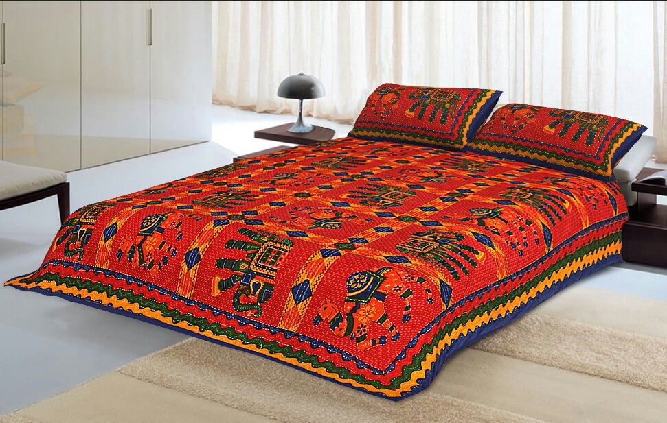 Blue Border Jaisalmer Handmade Embroidery with katha Thread Work Elephant Print Double Bed Sheet with Two Pillow Covers