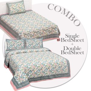 COMBO366 Beautiful Pink Ethnic Combo Set of 1 Single and 1 Double Bedsheet With 3 Pillow Cover