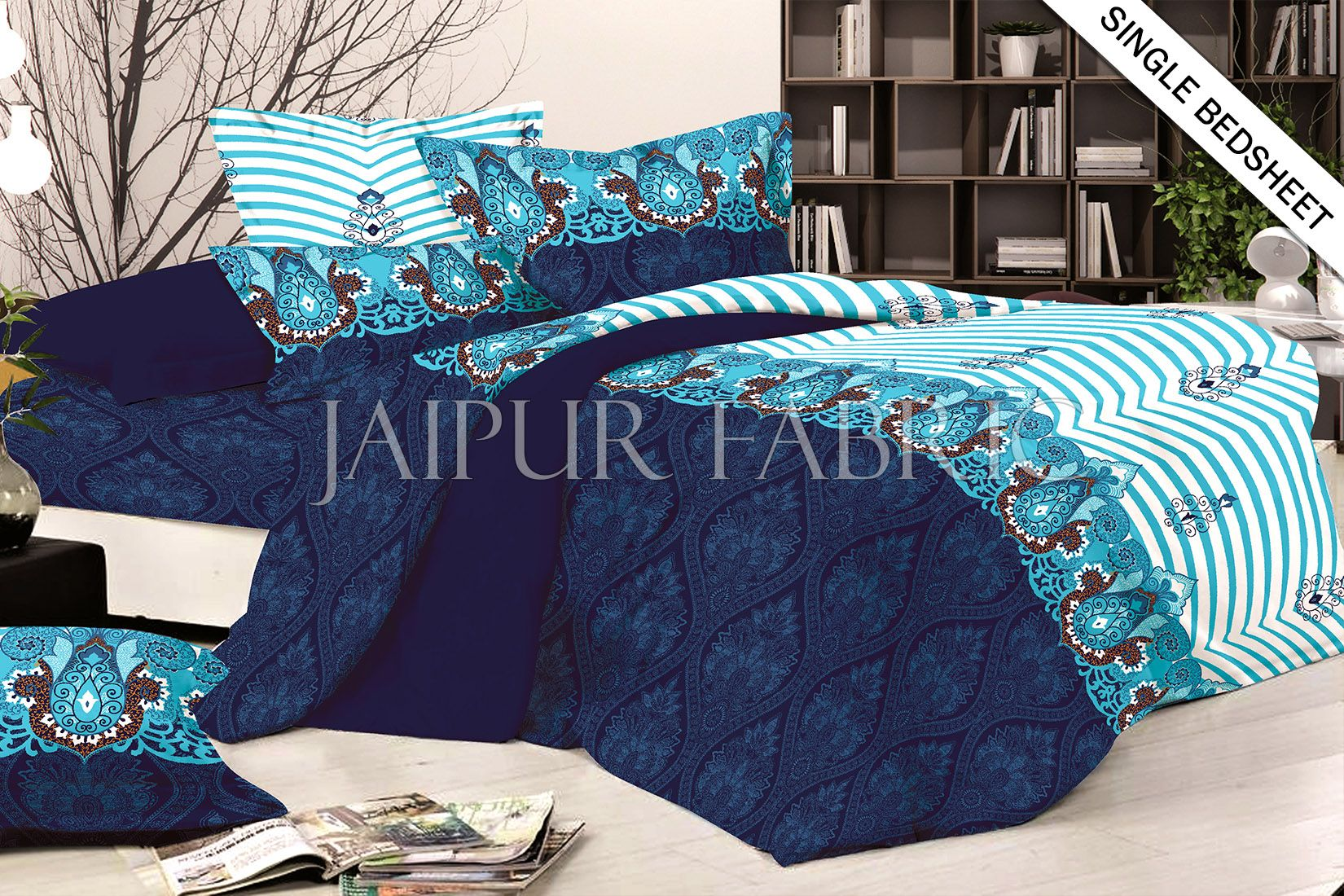 Blue and White Rajasthani Design Single Bed Sheet