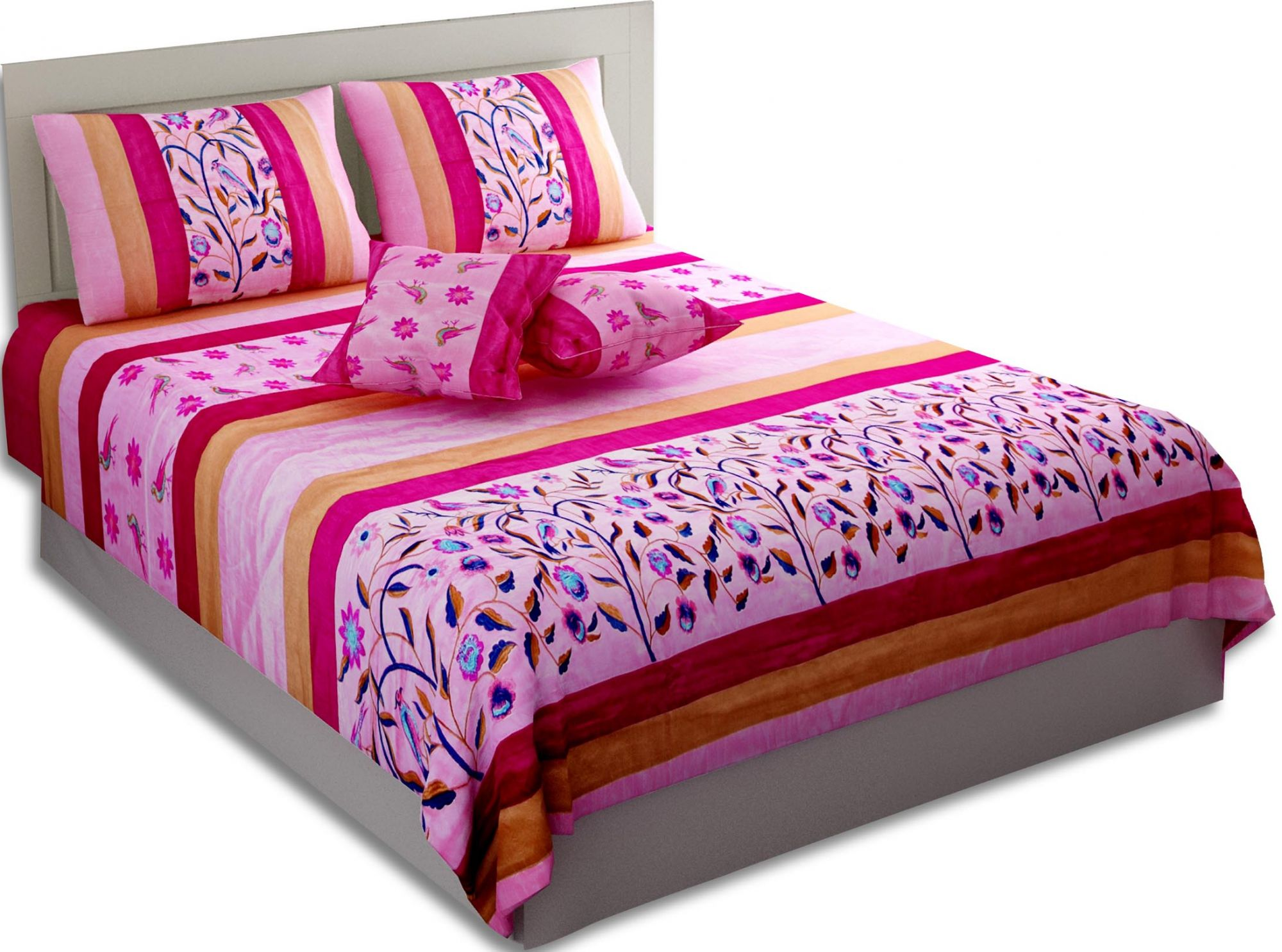 Royal Thread-work Nature Pink Silk Double Bed Cover