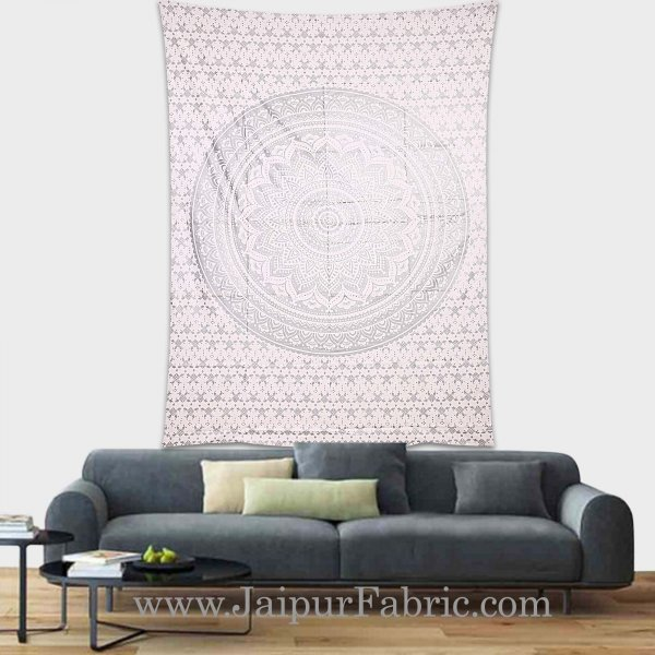 Silver Tapestry Ombre Mandala Wall Hanging Metallic Shine Bohemian Bedspread and beach throw 90x60