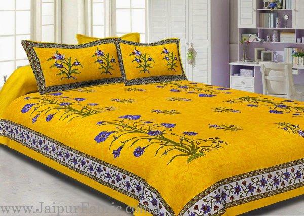 Yellow Border Tree Print Yellow Base Cotton Double  Bedsheet