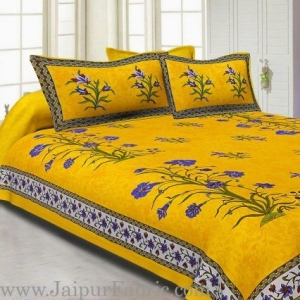 Wholesale Animal Print Yellow Cotton Double Bed Sheet