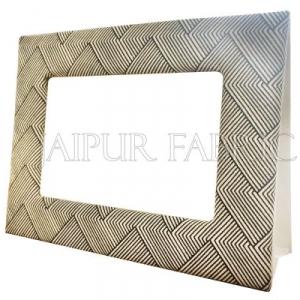 Grey Linear Pattern Fabric Photo Frame