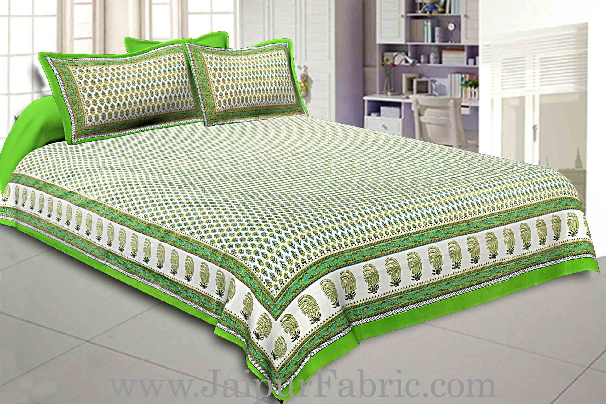 Double Bedsheet Lime Green Geometric Floral Gold Print With 2 Pillow Covers