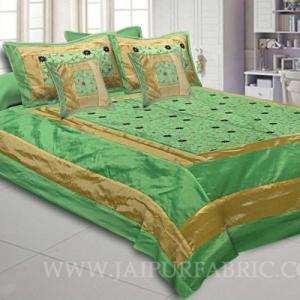 Lush Green Rajwada Silk Double Bedsheet