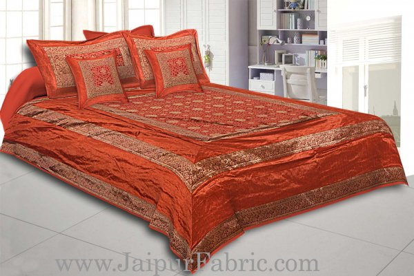 Brown Rajasthani Zari Embroidered Lace Work Silk Double Bed Sheet