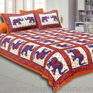 Brown Border Elephant Design Pure Cotton Double Bedsheet With Pillow Cover