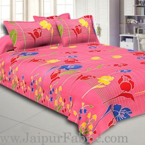 Purple Base Lottos Floral Print Double Bed Sheet