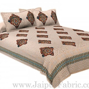 Double Bed Sheet Cream Base With Boota Block  Print Super Fine Cotton