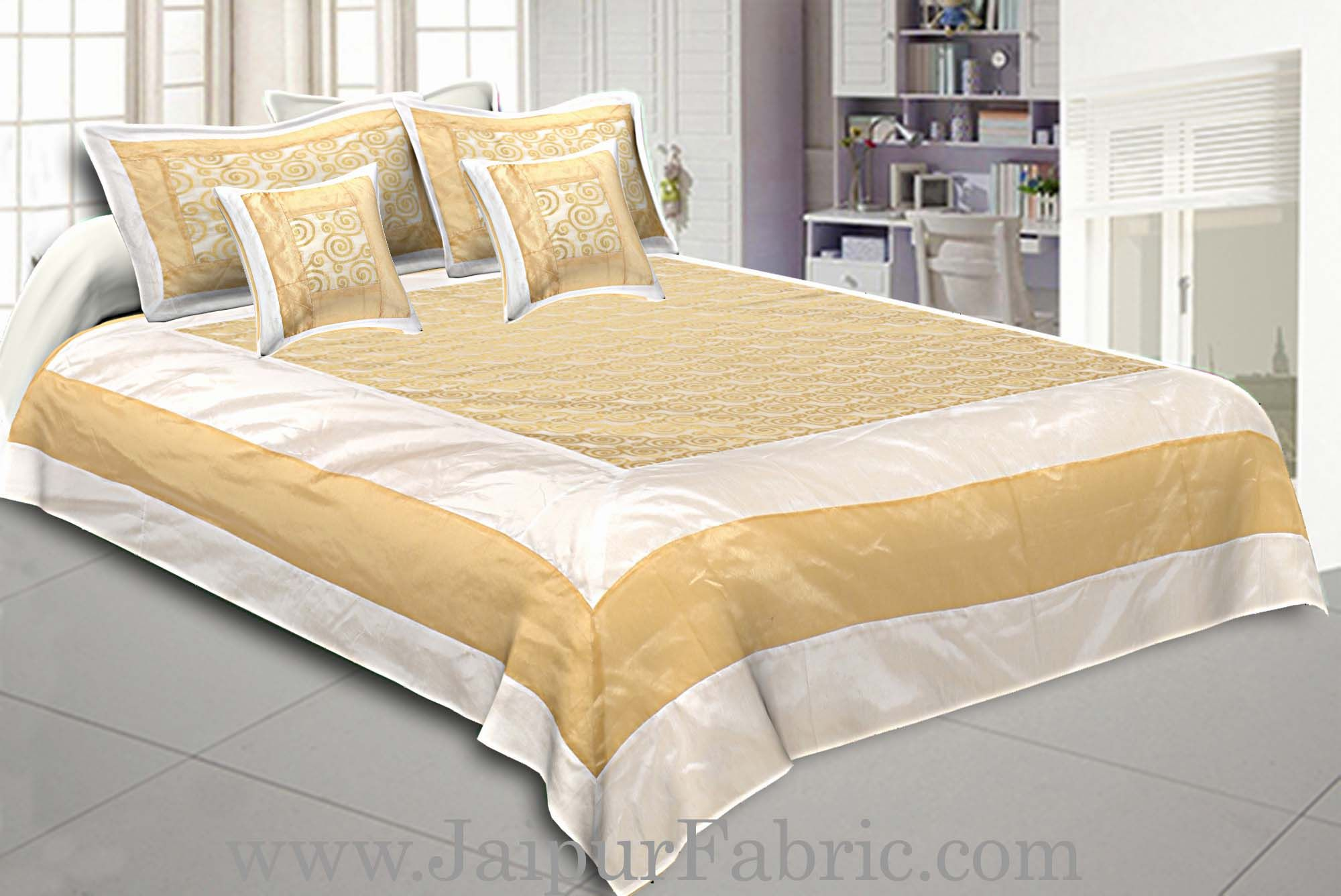 Chanderi Silk Double bedsheet with Golden Weave Work  Small Booti
