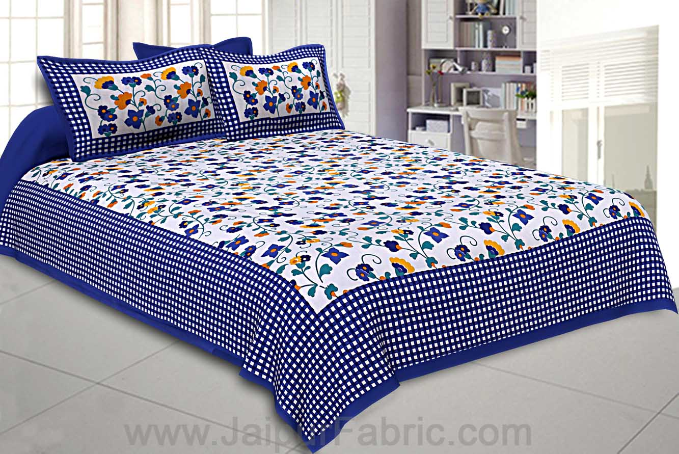 Floral Double Bedsheet Blue Color Checkred Border With 2 Pillow Covers