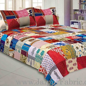 Mix Tukdi Big King Size Super Fine Golden Multi Patch Double Bedsheet