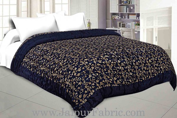 Jaipuri Quilt/Razai Blue Floral Golden Print