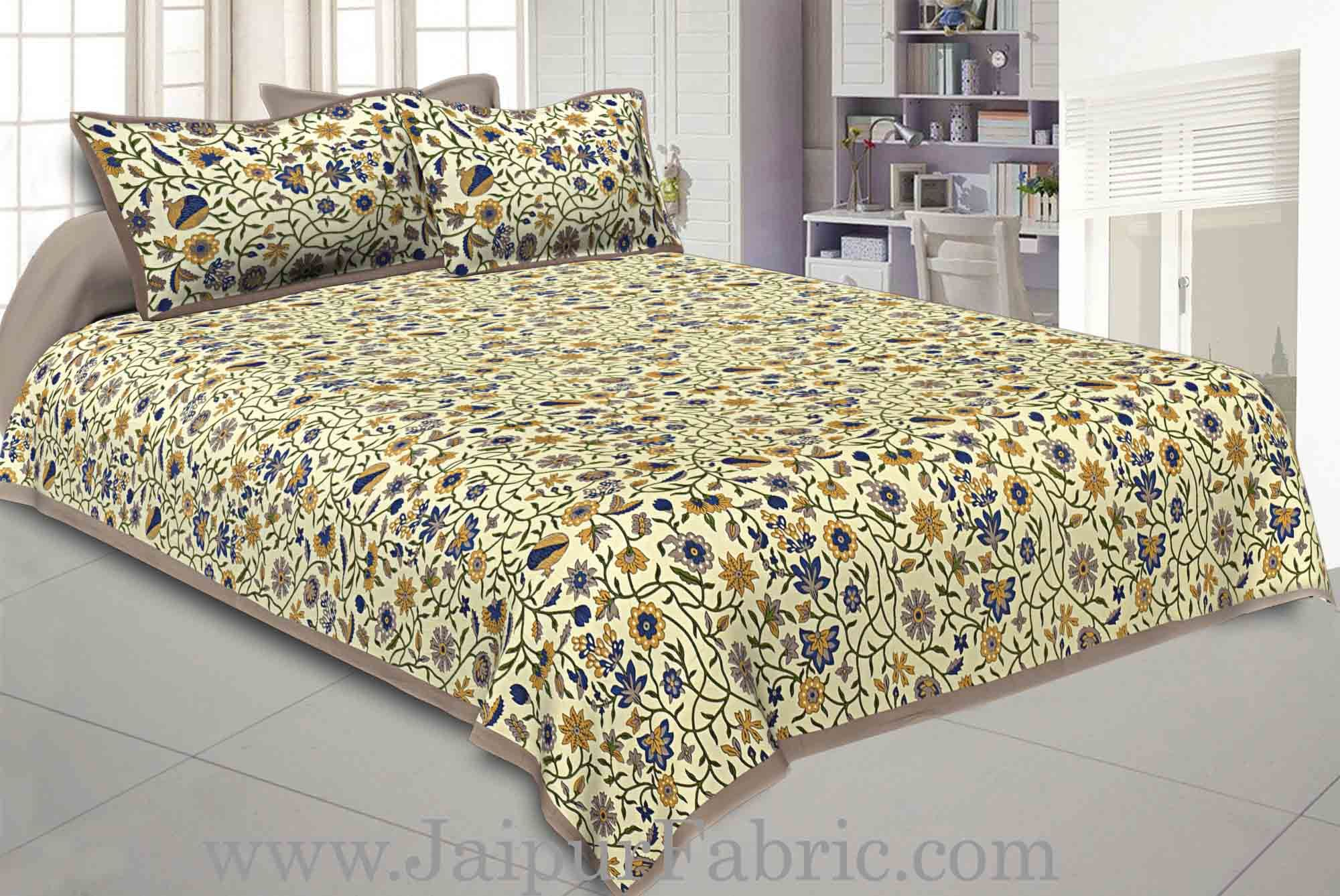 Double bedsheet with Brown Border Branch of   Pomegranate With Two Pillow Cover