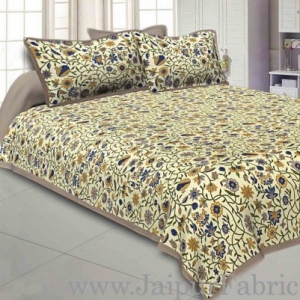 Wholesale Double bedsheet with Brown Border Branch of   Pomegranate With Two Pillow Cover