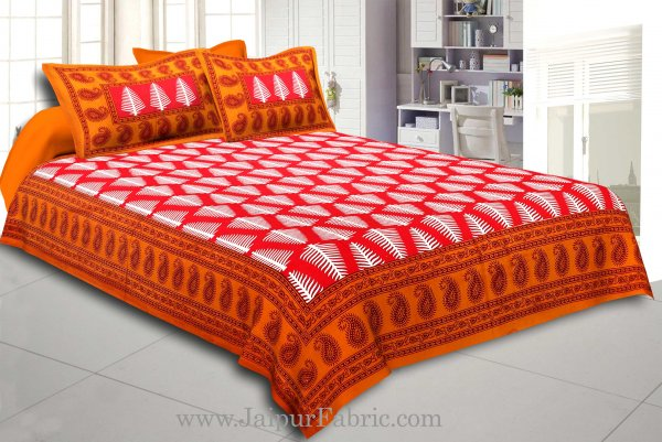 Brown Border  Red Base White Large Leaf  Cotton Double Bed Sheet