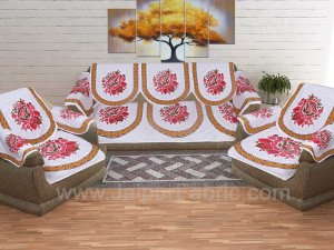 Mustard Superfine Cotton Rose Print Sofa Set Cover