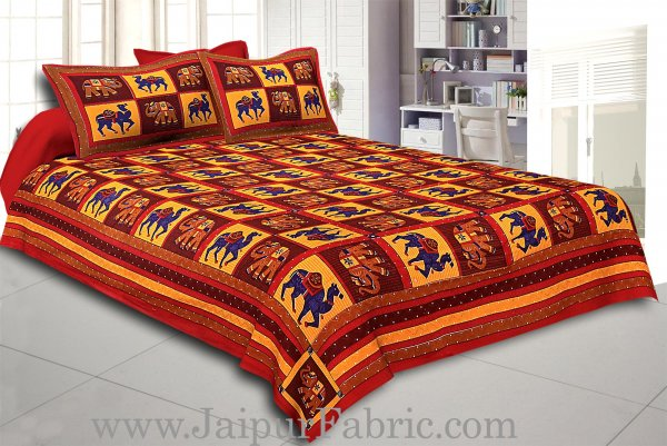 Maroon Lining And Dotted Border Camel And Elephant Print In Square Pattern Cotton Double Bed Sheet