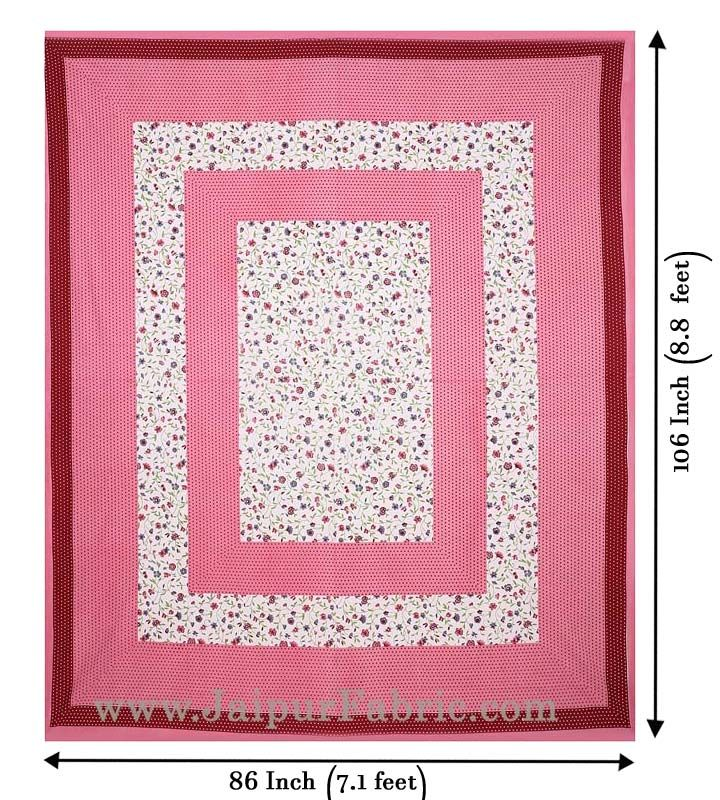 Floral Double Bedsheet Pink Color Dotted Border with 2 Pillow Covers