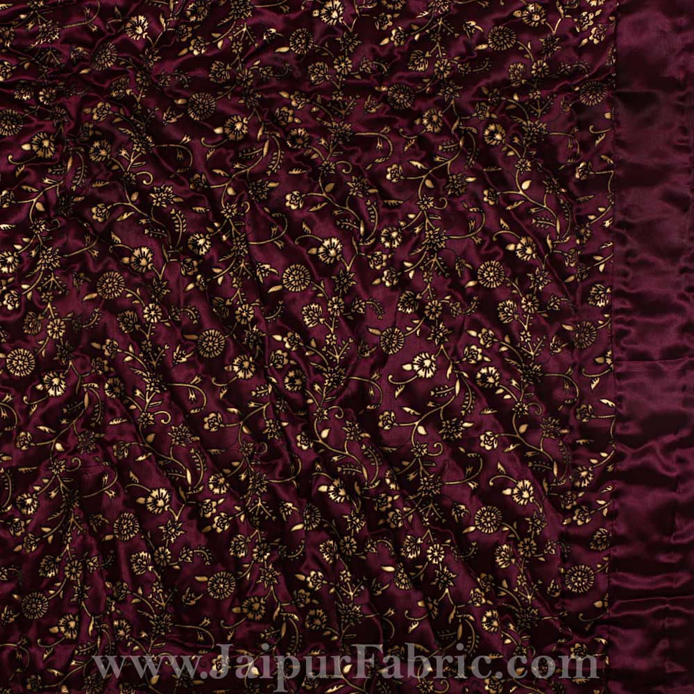 Purple Base Golden Floral Satin Silk Single Quilt