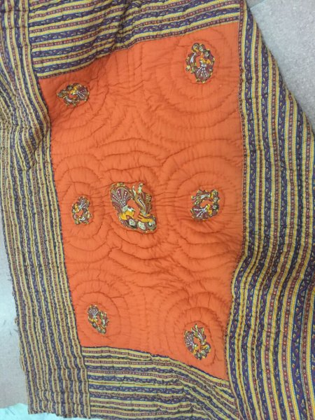 Orange Base Rajasthani Dancing Thread Work Cotton Double