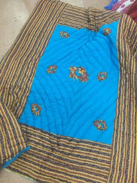 Blue Base Rajasthani Dancing Thread Work Cotton Double Bed Jaipuri Quilt