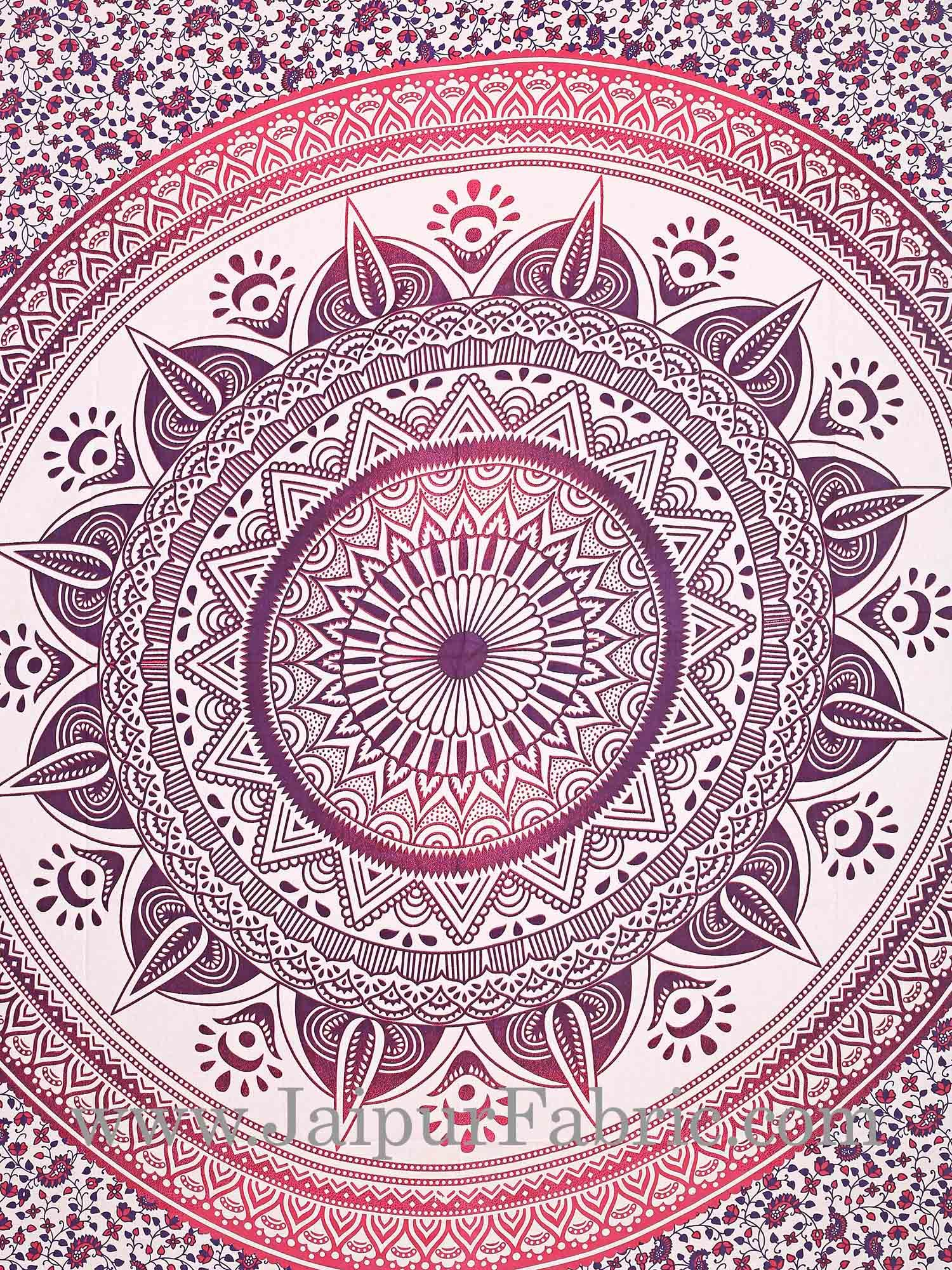 Purple Mandala Tapestry with white hippie indian traditional wall hanging and beach throw