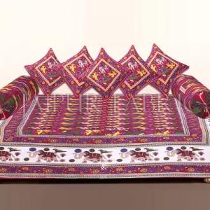 Red Rajasthani Animal Print Cotton Diwan Set