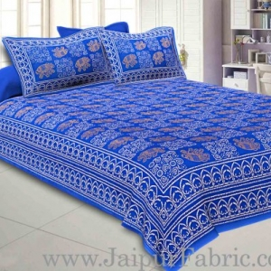 Double Bedsheet Royal Blue Border Golden Elephant Print With Two Pillow Cover
