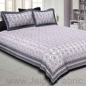 Double Bedsheet Rangoli Print Black Border Fine Cotton