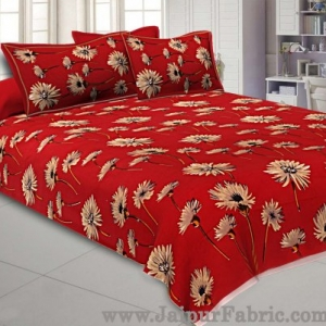 Sun Flower Double Bedsheet Red Color With 2 Pillow covers