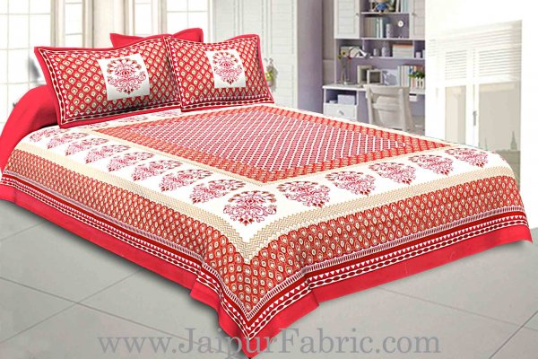 Double Bedsheet Crimson Red Geometric Floral Gold Print With 2 Pillow Covers
