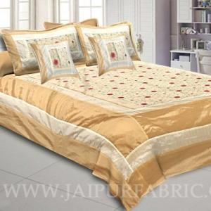 Pearly Ivory Rajwada Silk Double Bedsheet